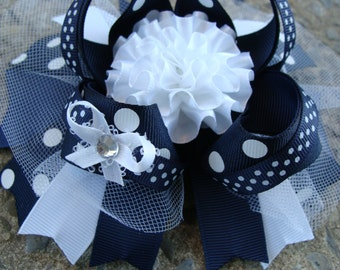 Large School Hair Bow Large Boutique Hair Bow Navy and White hair bow