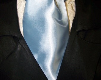 Cravat, In A Light Blue Fabric or Ascot Mens Victorian Tie.