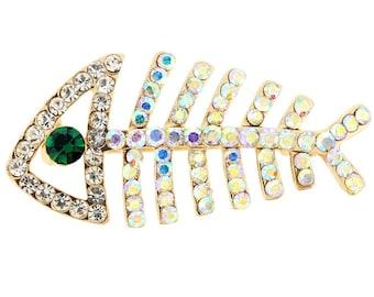 Golden FishBone Crystal Pin Brooch 1003813