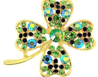 Multi Green Lucky 4 Leaf Clover Flower Crystal Pin Brooch 1012881