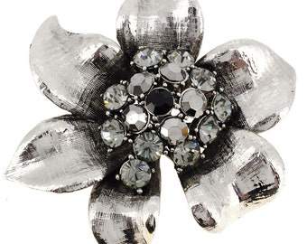 Platinum Silver Flower Pin Brooch 1001142