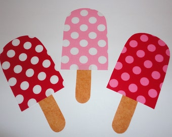3 Iron On Applique Red RAZZBERRY CHERRY Pink And Red Polka Dot Popsicles
