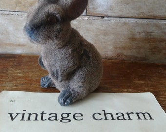 Vintage Felted Bunny or Rabbit Bank 1950s or 60s