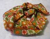 Fine granny squared crocheted lady scarf fall/winter in warm bright colors