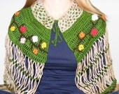 Short Length Crcoheted Capelet With Folk Motifs in beige and green with flowers