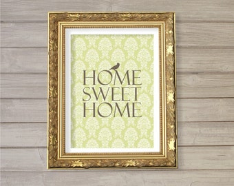 Home Sweet Home Wall Art Printable - 8x10  - Instant Download Home Interior Living Room Decor Damask Digital Print Poster