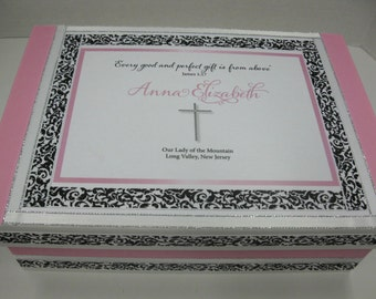 1st Communion Keepsake Box - Pink and Black and White Damask w Cross