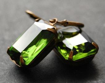 Green Earrings, Czech Glass, Antique Brass Estate Style Leverback Earrings, Vintage Olive Glass Octagon