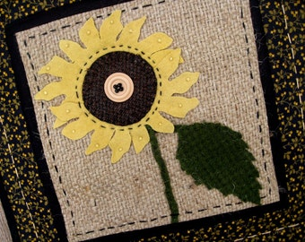 Sunflower Fabric Art Tiles in Wool, Burlap and Cotton Table Runner Wallhanging in Soft Butter Yellow Wool