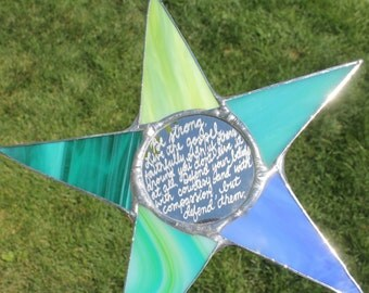 Family Motto Star  10 inch stained glass star with personalized message engraved on mirror center
