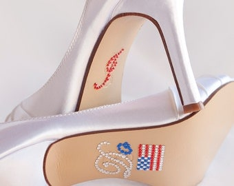 Wedding Shoes I DO Shoe Decal - Red White Blue Wedding - Military Wedding Shoes - Crystal Wedding Shoe Stickers - Bridal Shoe Decals