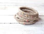 6 Linen Stacking Bangles with Fireopal Swarovski Crystals