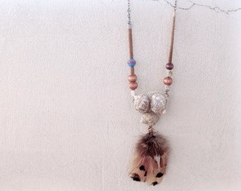 Long Festival Necklace, Conch Shell Art Triangle, Feathers Tassel