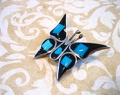 Vintage Sterling Silver Turquoise and Onyx Butterfly Pin / Brooch