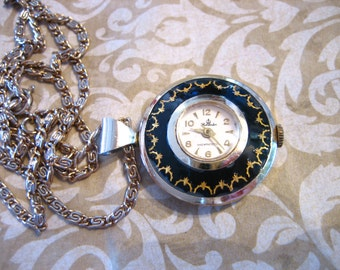 Vintage Harvester Black Enamel Watch Pendant Necklace