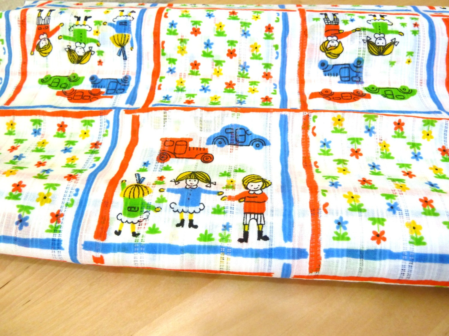 Vintage bright floral fabric childrens fabric 60s for Childrens patterned fabric