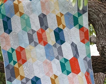 Disco Quilt Pattern by Jaybird Quilts Hexagon Quilt Using Hex N More Ruler