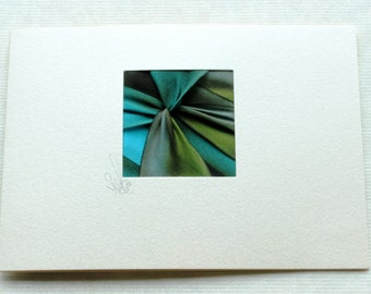 Handmade Cards,  5 Blank Note Cards, Hand-Dyed Silk Twist, Exquisite Brilliant Colors, Turquoise and Moss Green, Note Papers
