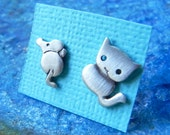 Cat and Mouse earring studs summer studs birthday gift for teenager