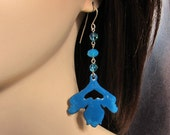 Blue flower dangle earrings Art nouveau bohemian enamel jewelry One of a kind earrings