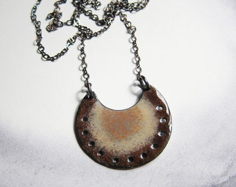 Long enamel boho necklace Bohemian jewelry Earthy brown medallion layering pendant Enameled copper crescent pendant