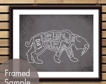 Saber-Toothed Tiger Butcher Diagram - Art Print (featured in Charcoal) (Buy 3 and get One Free) Prehistoric ice age