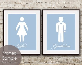 Ladies and Gentlemen - Set of 2 Art Prints  (Blue Icing with White Symbols) Bathroom art prints