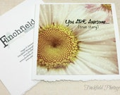 Awesome - Inspirational photo card, pink & beige flower photography, bokeh, handmade 5X5 blank card