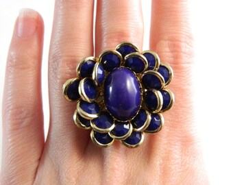 Vintage Deep Purple Flower Cocktail Ring - Costume Ring Set - Huge - Size 6.25