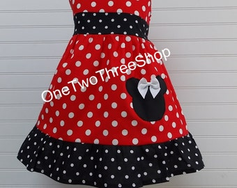 Minnie Mouse Dress Costume, Birthday Party, Dress up princessJumper Dress