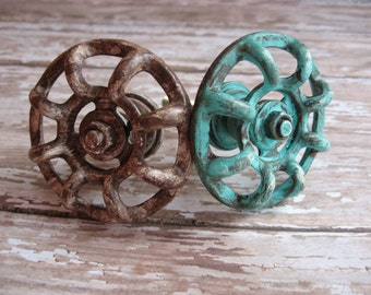 2 Vintage Style Industrial Faucet Spigot Rusty Modern Whimsical Aged Knobs or Pulls Set of 2 for Drawers or Cabinets Industrial Look B-3