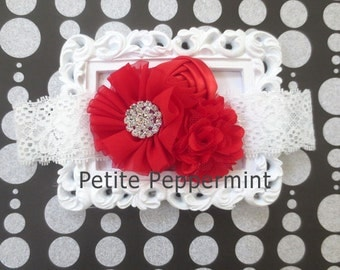 Red Baby headband, baby girl headband, newborn headband, toddler headband, baby flower headband - Red Flower Headband