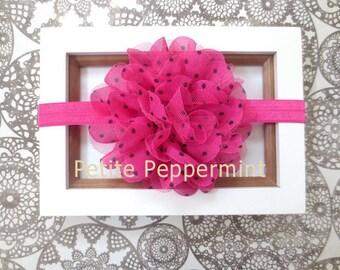 Baby headband, newborn headband, infant headband, toddler headband - Hot Pink Baby Flower Headband