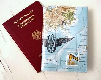 Reisepasshülle aus Vintage Weltkarten, Reiseetui aus Atlas von renna deluxe