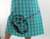 Lucha Libre Silk Screen Print on Turquoise Plaid Aline Skirt