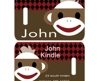 Sock Monkey Face Boys Personalized Bag or Luggage Tag, Custom Personalized Bag Tag, Monogrammed Bag Tags, Kids Personalized Bag Tags