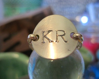 Gold stamped jewelry Initial Ring, couples initials, boyfriend, monogram stamped ring with letter or number or date
