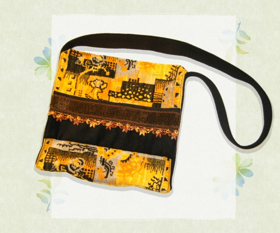 Sunflower Satchel - Strong Velvet Bag Large Size Yellow Shoulder Bag with pockets - Big Satchel Bag in Yellow Velvet with Funky Aztec Design
