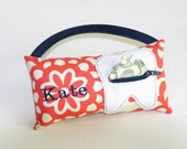 Girl's Red Daisy Chain with Navy Personalized Tooth Fairy Pillows