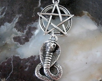 Cobra Pentagram Necklace, wiccan jewelry pagan jewelry wicca jewelry witch witchcraft pentacle metaphysical gothic wiccan necklace