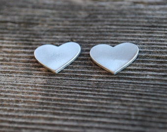 Pewter Stamping Blank Heart 1 inch diameter. Achieve an Organic Look in Your Stamping-You GET 3