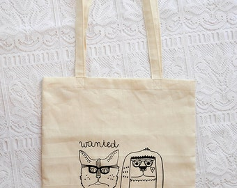 Paris Robbers Wanted tote bag handmade in vintage linen and screenprinted