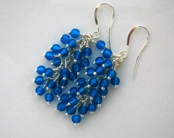 Silver and Teal Blue Cluster Earrings Teal Earrings Teal Cluster Earrings Teal Waterfall Earrings