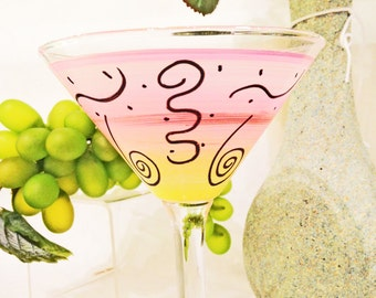 Hand Painted Martini (1), Festive Party Design Glasses, Lines and Squiggles