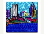 Rochester Art Tile Ceramic Coaster Cityscape Abstract