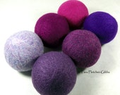 Wool Dryer Balls - Purple People Eater Solids - Set of 6 Eco Friendly - Can be Scented or Unscented