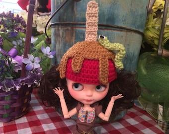 Crochet Carmel Apple Hat Beanie Helmet for Blythe Doll