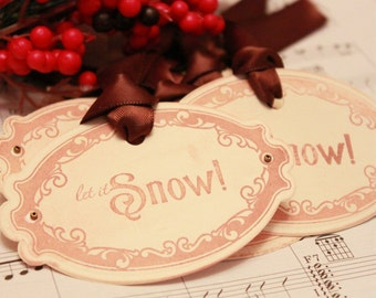 Christmas Tags (Doubled Layered) - Let it Snow (A1) - Handmade Vintage Inspired Christmas Gift Tags - Vintage Winter Tags - Set of 8