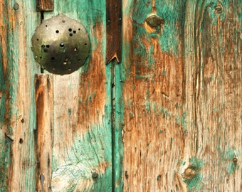 Photography download Old door photo wood grain detail turquoise teal decor architecture printable art