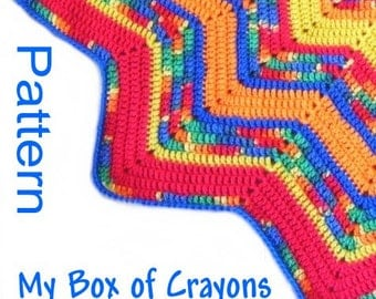 PDF Pattern Crocheted 12-Pointed Star Blanket My Box of Crayons Blue Yellow and Red Design